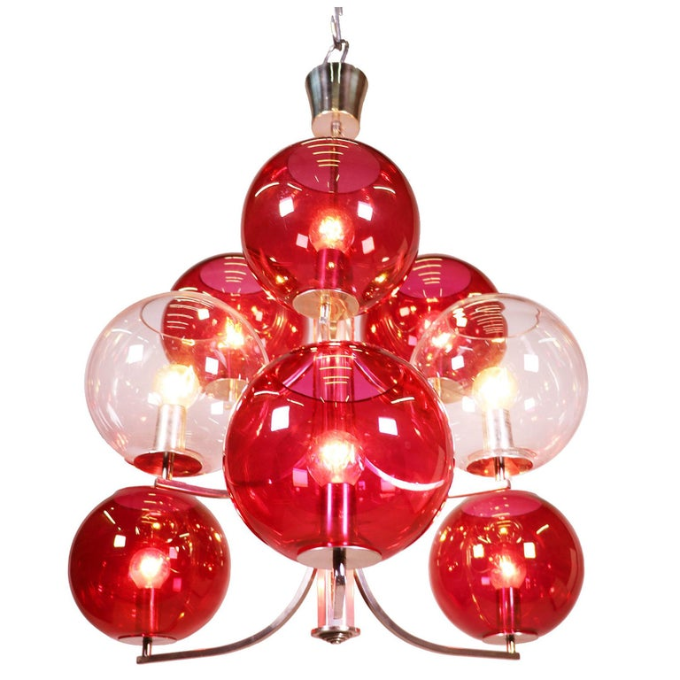 1960 Italy Sputnik Chandelier Cranberry Murano Glass Globes & Silver-Plated For Sale