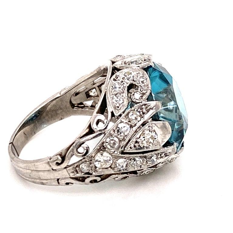 Art Deco Rare No Heat 11 Carat Blue Zircon Diamond Vintage Estate Ring For Sale