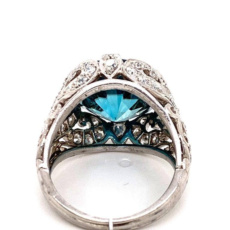 Round Cut Rare No Heat 11 Carat Blue Zircon Diamond Vintage Estate Ring For Sale