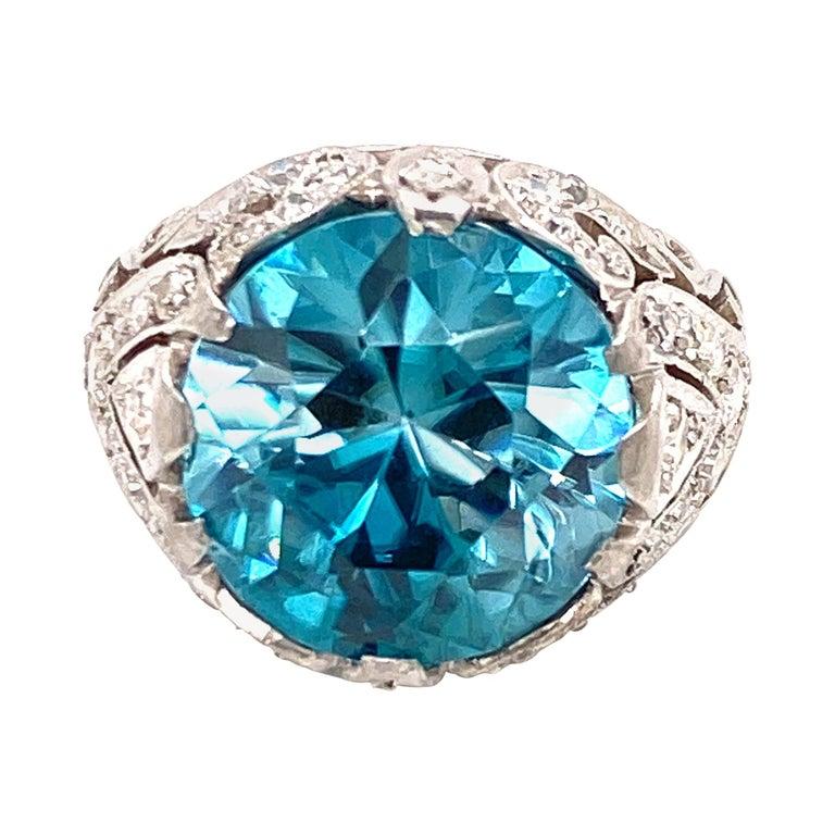 Rare No Heat 11 Carat Blue Zircon Diamond Vintage Estate Ring For Sale