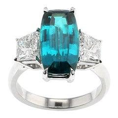 Rare No Heat 4 Carat Brazilian Paraiba Tourmaline and Diamond Three-Stone Ring