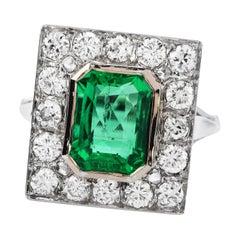 Rare No Oil 3.94 Carats GIA Colombian Emerald Diamond Ring