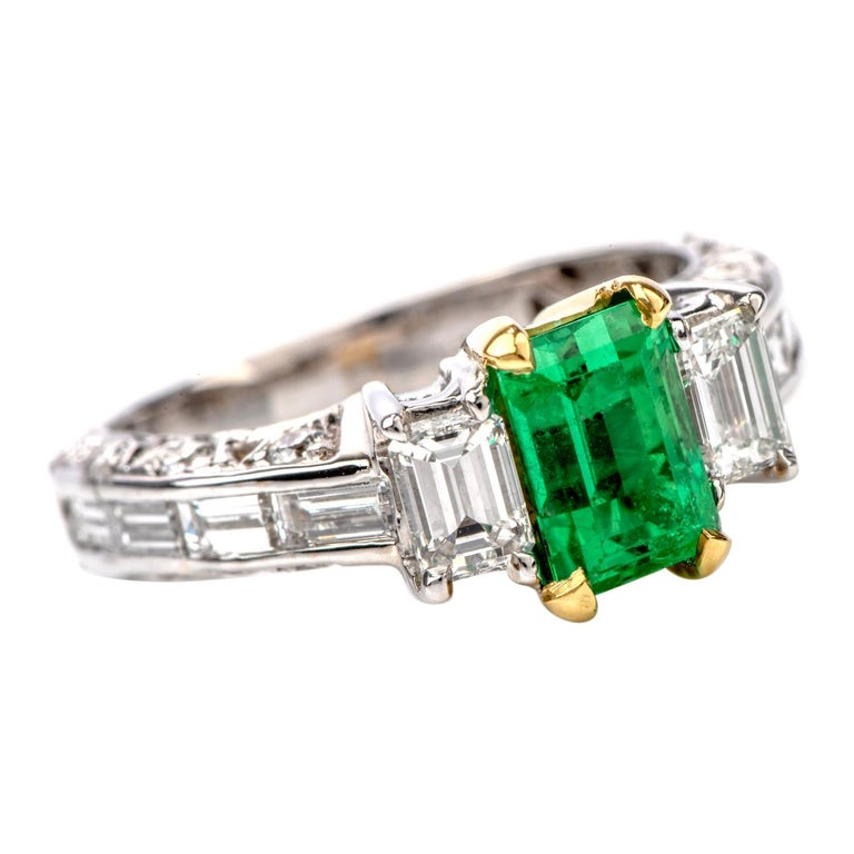 Rare No Oil GIA Emerald Diamond 18 Karat Engagement Three-Stone Ring For Sale