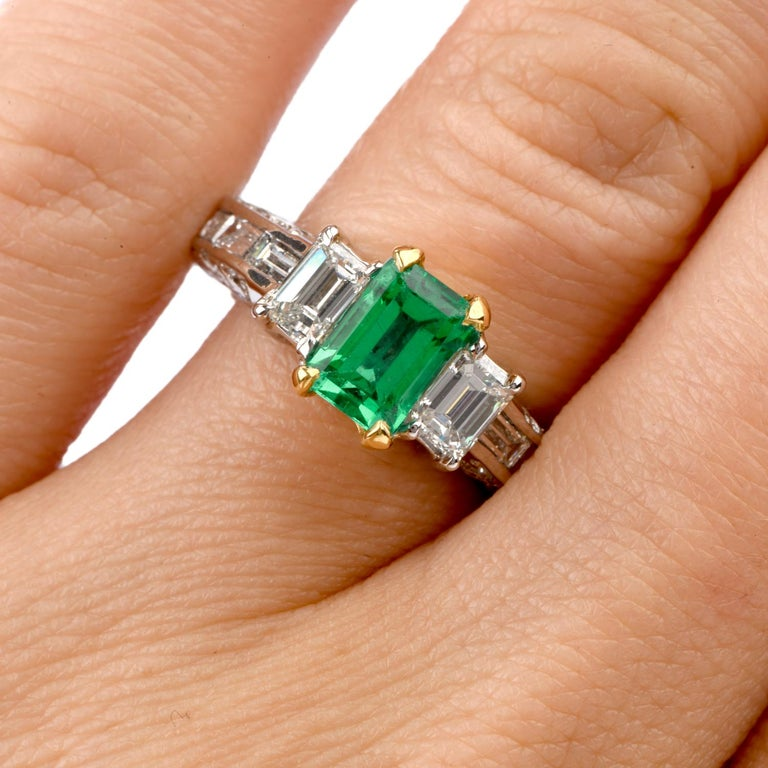 Art Deco Rare No Oil GIA Emerald Diamond 18 Karat Engagement Three-Stone Ring For Sale