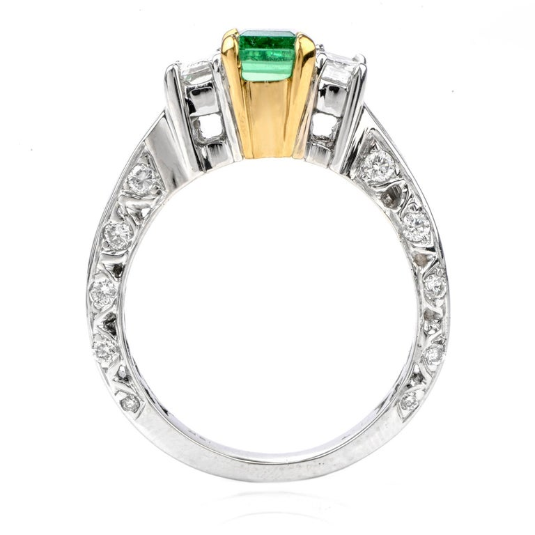 Women's or Men's Rare No Oil GIA Emerald Diamond 18 Karat Engagement Three-Stone Ring For Sale