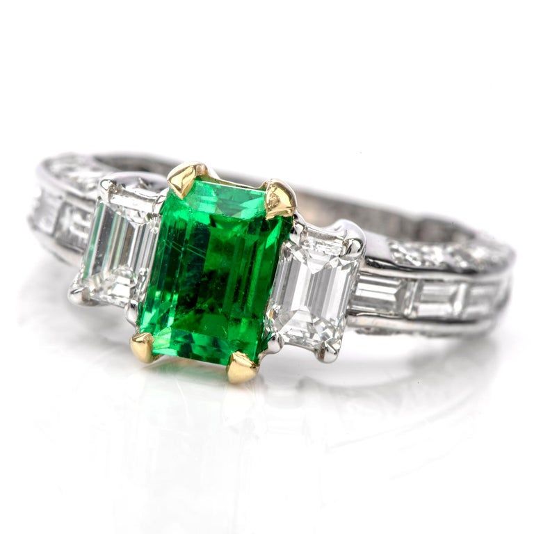 Rare No Oil GIA Emerald Diamond 18 Karat Engagement Three-Stone Ring For Sale 1
