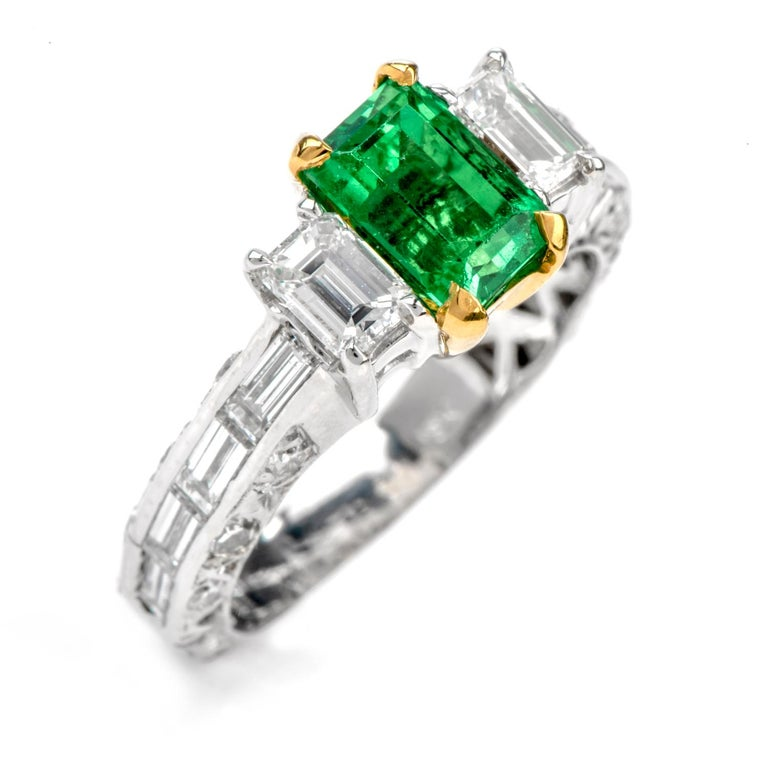 Rare No Oil GIA Emerald Diamond 18 Karat Engagement Three-Stone Ring For Sale 2