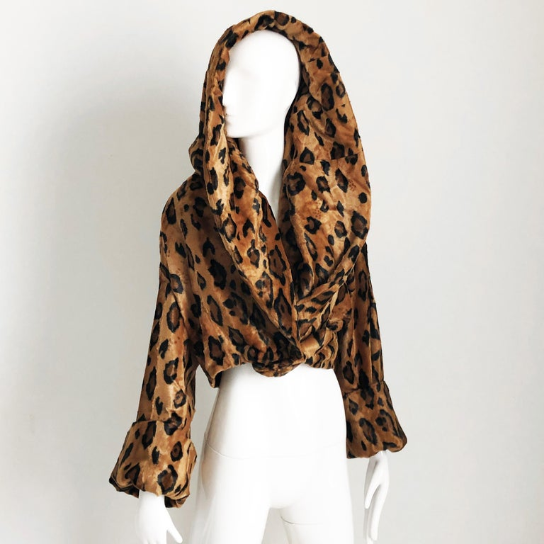Rare Norma Kamali Cropped Leopard Jacket with Shawl Collar M Vintage  For Sale 2