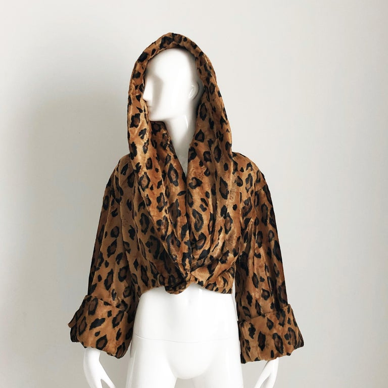 Rare Norma Kamali Cropped Leopard Jacket with Shawl Collar M Vintage  For Sale 3