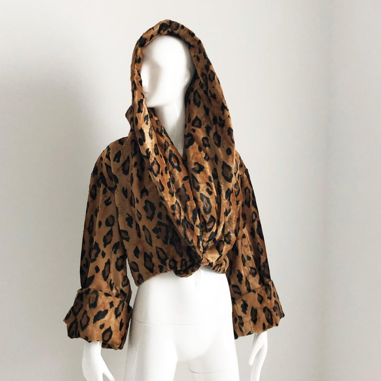 Rare Norma Kamali Cropped Leopard Jacket with Shawl Collar M Vintage  For Sale 4