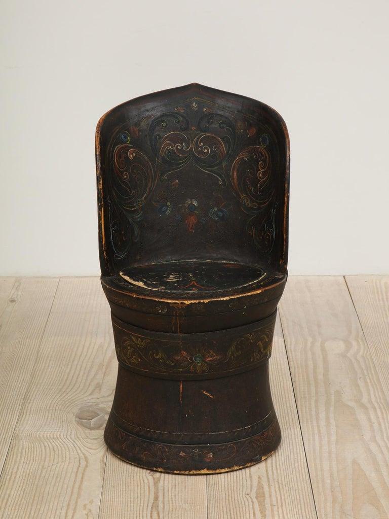 Rare Norwegian Kubbestol, circa 1850, Origin Telemark, Norway For Sale 6