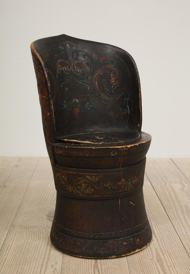 Rare Norwegian Kubbestol, circa 1850, Origin Telemark, Norway For Sale 10