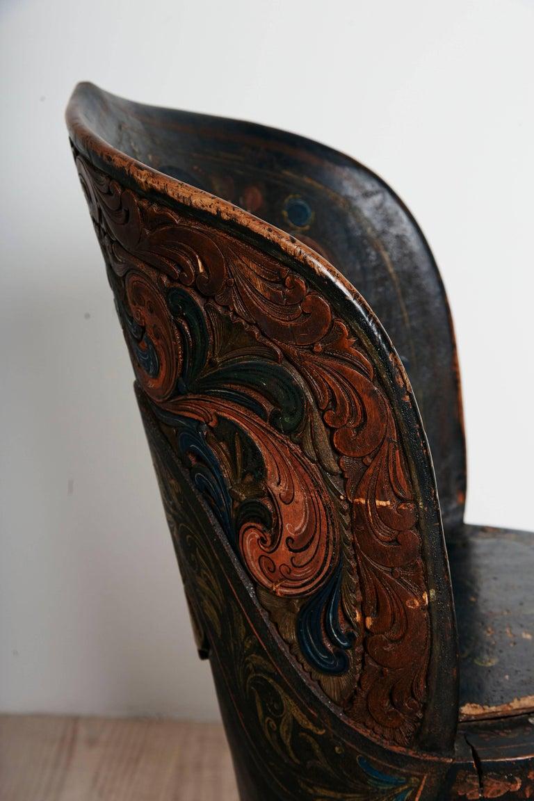 19th Century Rare Norwegian Kubbestol, circa 1850, Origin Telemark, Norway For Sale