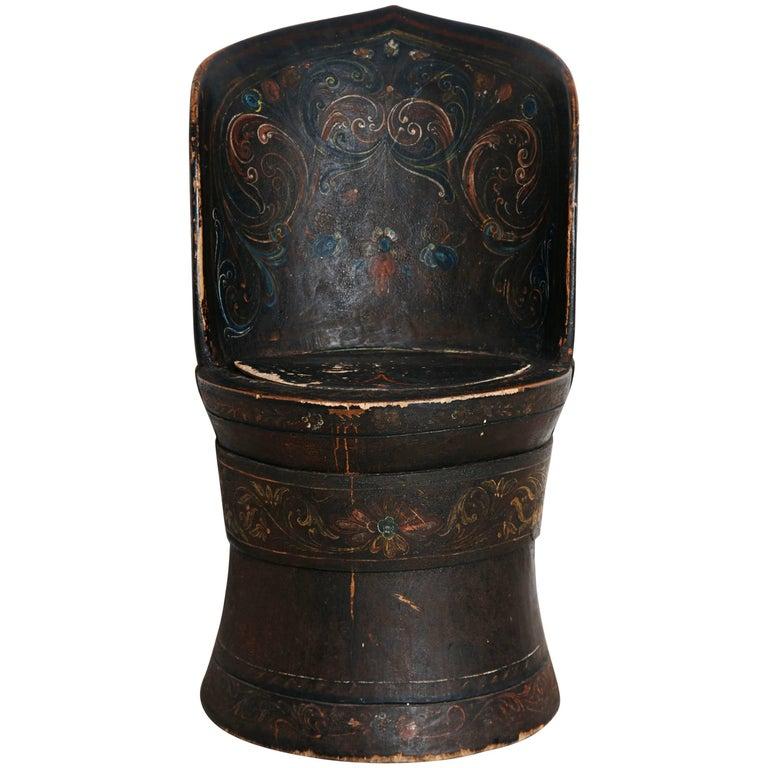 Rare Norwegian Kubbestol, circa 1850, Origin Telemark, Norway For Sale