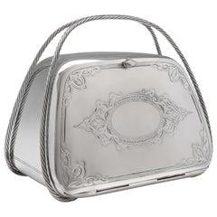 Rare Novelty Edwardian 'Handbag' Design Biscuit Box, circa 1905, Art Nouveau