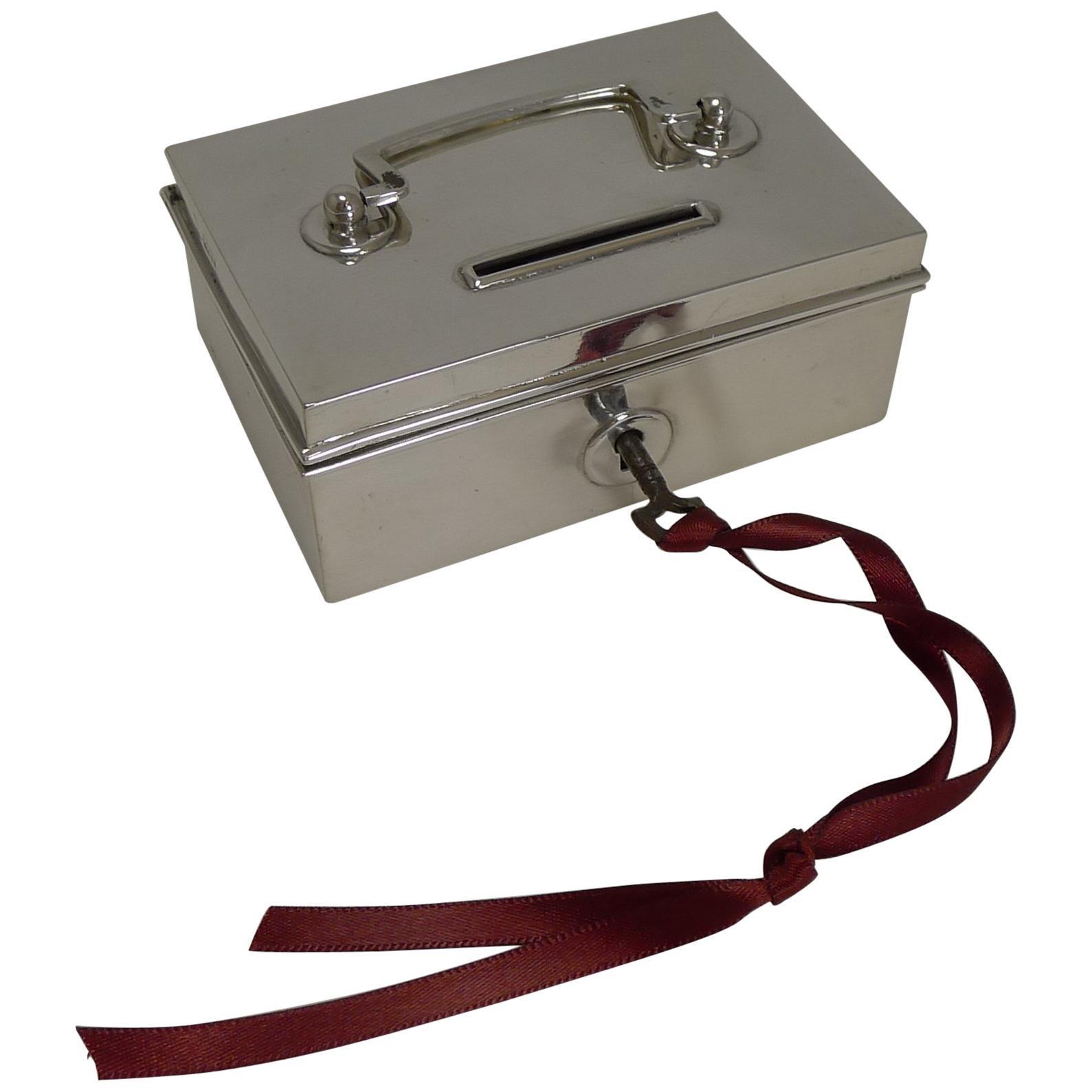 Rare Novelty English Sterling Silver Money Box / Bank, Miniature Cash Box
