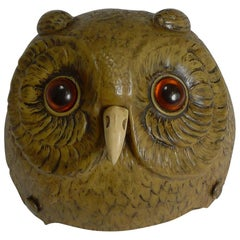 Rare Novelty / Figural Mechanical Bell in Early Celluloid, circa 1900, Owl