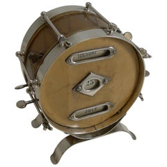Rare Novelty Leather and Nickel Plate Drum Perpetual Calendar, circa 1910