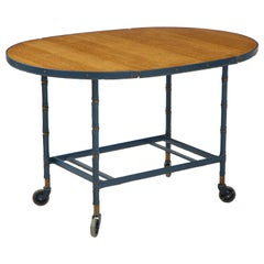 Rare Oak and Blue Stitched Leather Drop-Leaf Table / Bar Cart by Jacques Adnet