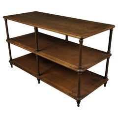 Rare Oak Console Table from a Haberdashery, France, 1900s