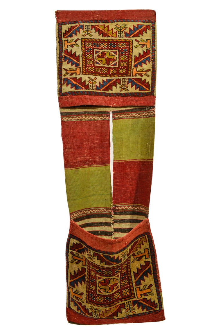 Old Shahsavan saddle bag, with interesting design and beautiful colors: border with leaves and little trees, central part Kilim with alternating colors red and pea green. Suitable on wall (horizontal) or on a little banch for newspapers, or to