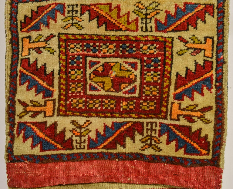 Hand-Knotted Rare Old Shahsavan Saddle Bag For Sale