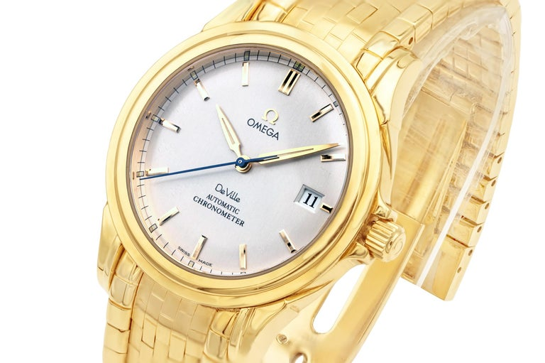 Women's or Men's Rare Omega De Ville Yellow 18k Gold Co-Axial Chronometer Wristwatch For Sale