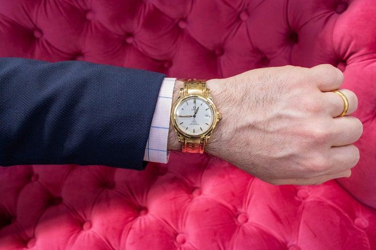 Rare Omega De Ville Yellow 18k Gold Co-Axial Chronometer Wristwatch For Sale 3