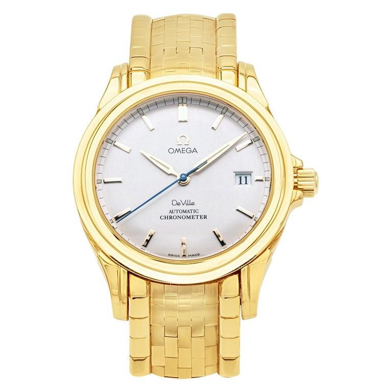 Rare Omega De Ville Yellow 18k Gold Co-Axial Chronometer Wristwatch For Sale