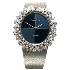 Rare Omega Diamond Watch in White Gold 18K