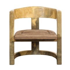 Rare Onassis Lounge Chair by Karl Springer 1970's
