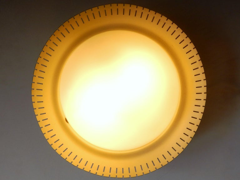 Rare Opaline and Metal Ceiling Lamp by Bent Karlby, Denmark, 1960s For Sale 1
