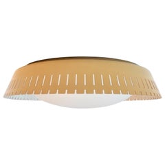 Rare Opaline and Metal Ceiling Lamp by Bent Karlby, Denmark, 1960s