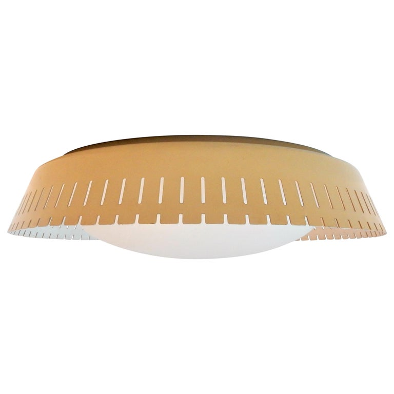 Rare Opaline and Metal Ceiling Lamp by Bent Karlby, Denmark, 1960s For Sale
