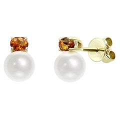 Rare Orange Sapphire Pearl Diamond Yellow Gold Earrings