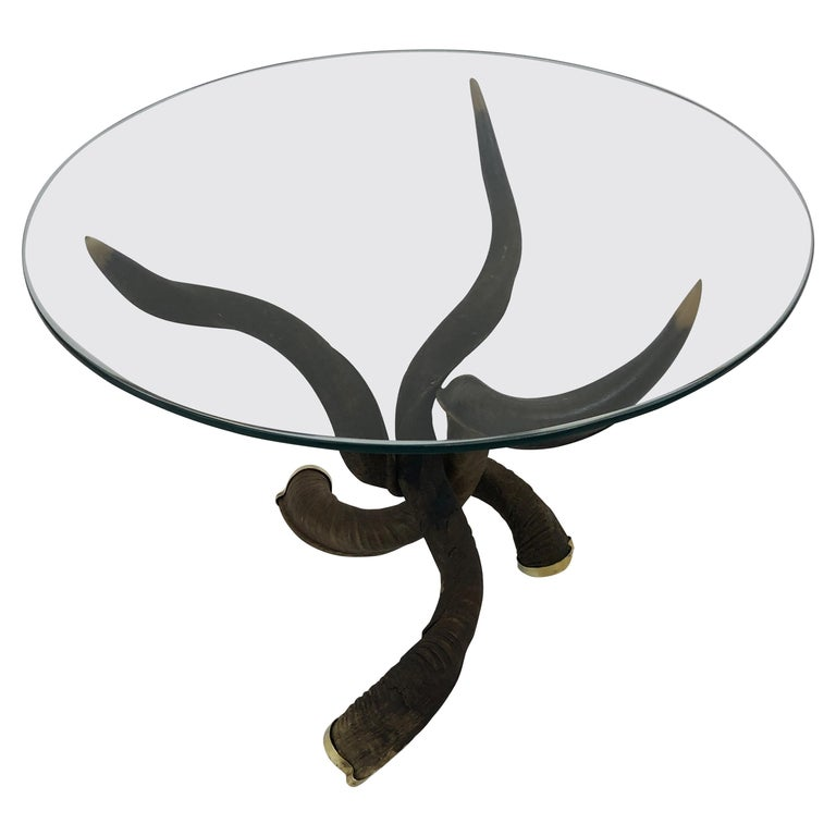 Rare Organic Handmade Kudo Horn Based Coffee Table For Sale