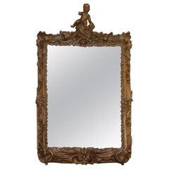 Rare Original 18th Century Ornately Carved Frame Wall Mirror with Cherub Boy