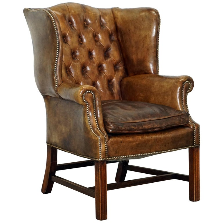 Rare Original 1930s Chesterfield Leather Wingback Armchair Feather