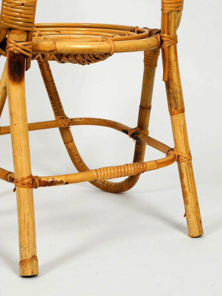 Rare Original 1960s Bamboo Chair with High Backrest For Sale 4