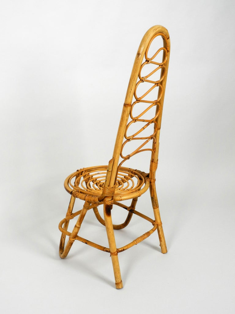 Rare Original 1960s Bamboo Chair with High Backrest For Sale 8