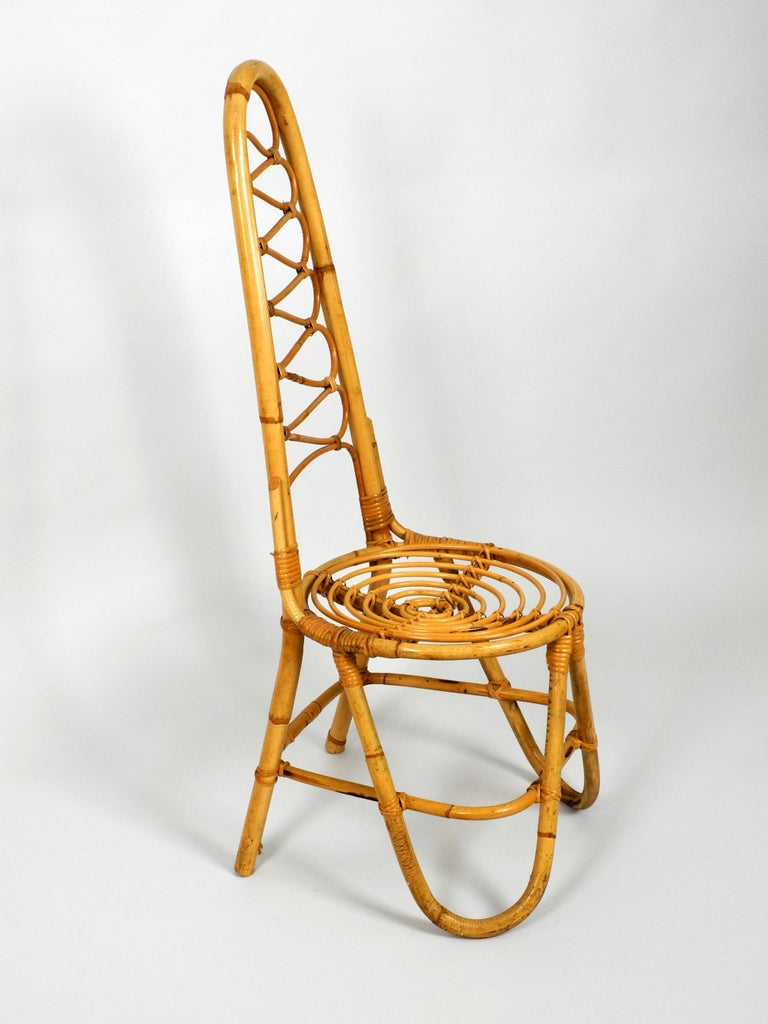 Mid-Century Modern Rare Original 1960s Bamboo Chair with High Backrest For Sale