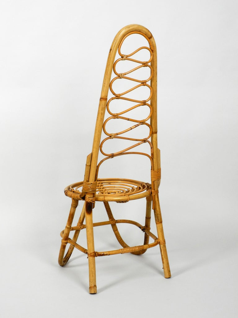 European Rare Original 1960s Bamboo Chair with High Backrest For Sale