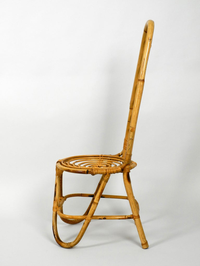 Rare Original 1960s Bamboo Chair with High Backrest In Good Condition For Sale In München, DE