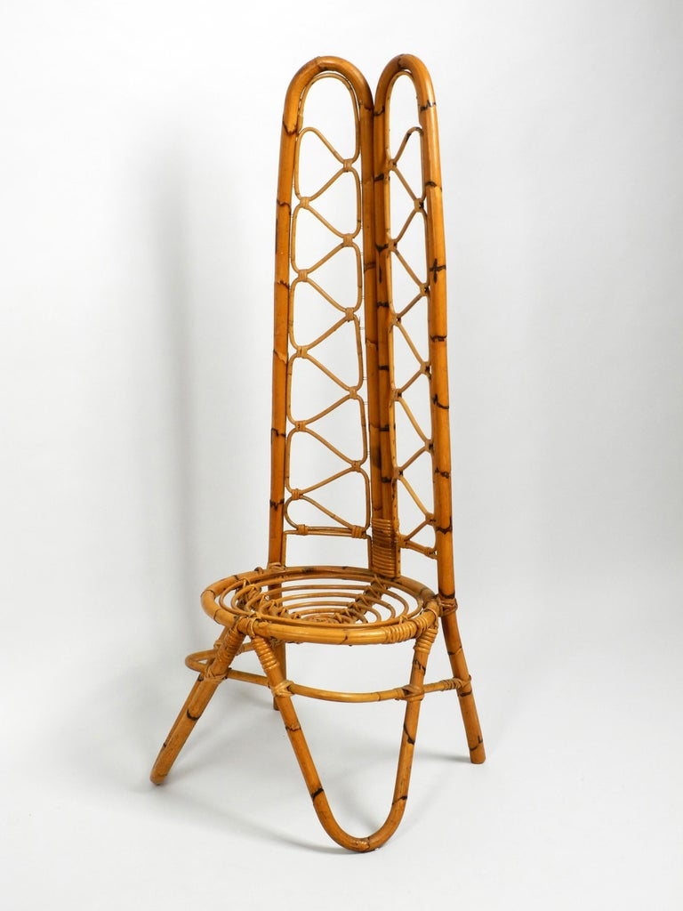 Italian Rare Original 1960s Bamboo Chair with Low Seat and High Back For Sale