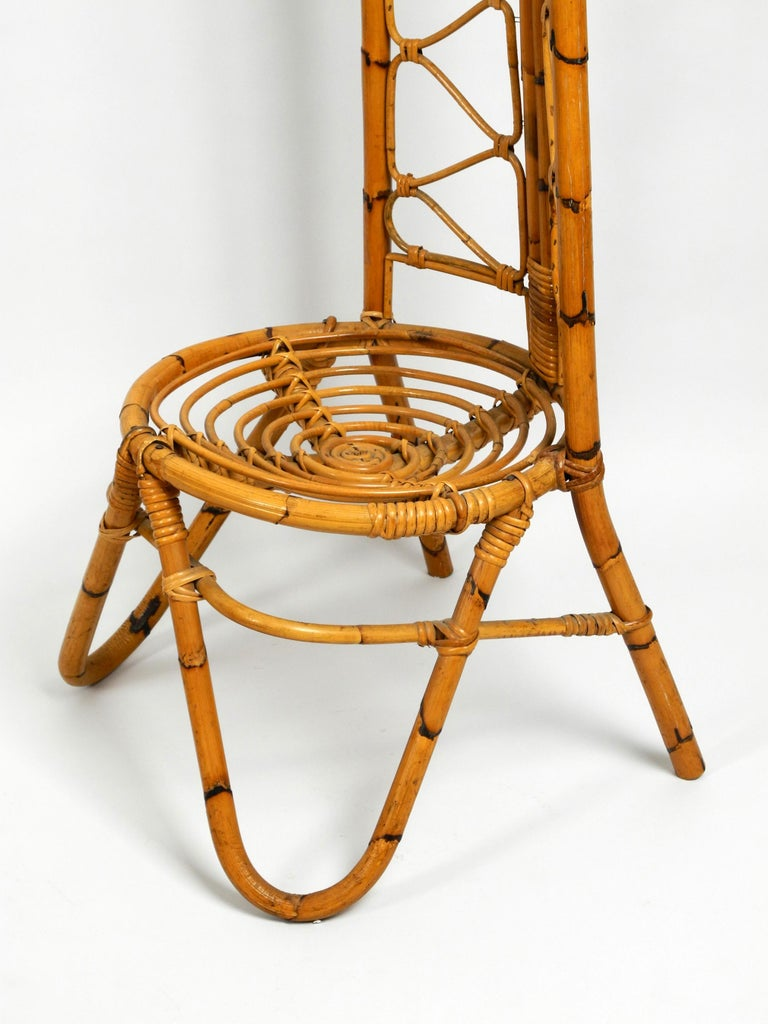 Rare Original 1960s Bamboo Chair with Low Seat and High Back For Sale 1
