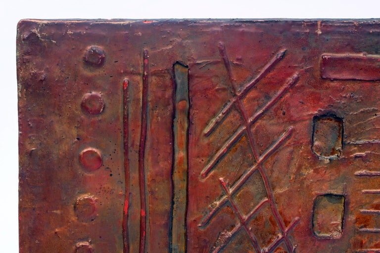 1960s wall art designed and manufactured in the UK.  Fiber glass relief of an abstract design.  Aged bronze effect finish.  Measures: H 63 cm x L 136 cm x W 4 cm.