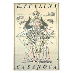 Rare Original 1979 Movie Poster for Casanova Di Federico Fellini
