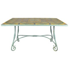 Rare Original D&M Tile Table with Handwrought Iron Base