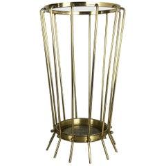 Rare Original Hollywood Regency Bauhaus Brass Umbrella Stand, Austria, 1960s