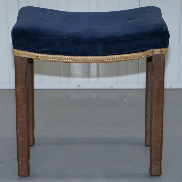 Rare Original King George vi Coronation Stool 1937 Limed Oak by Waring & Gillow For Sale 6